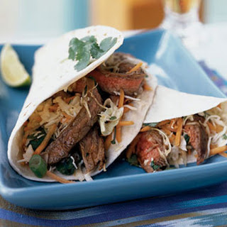 Thai Beef Tacos with Lime-Cilantro Slaw.
