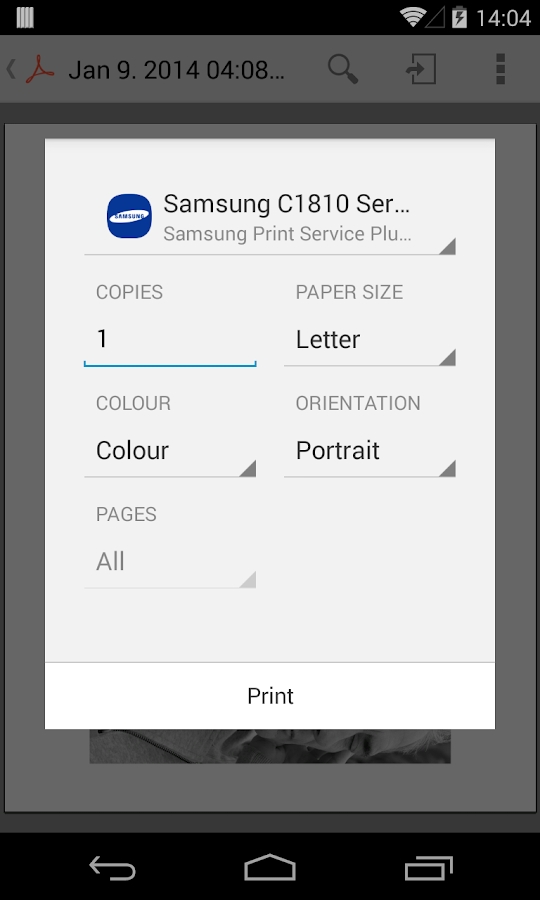 Samsung Print Service Plugin- screenshot