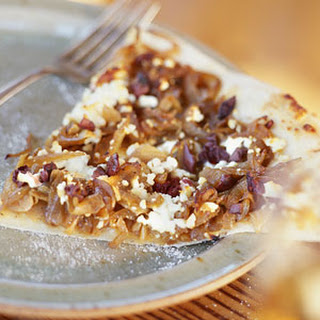 Pizza with Caramelized Onions, Feta, and Olives