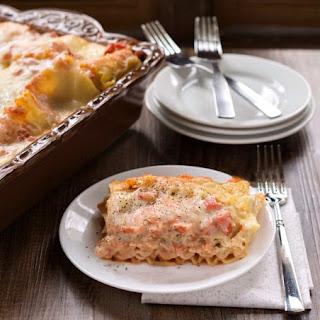 Creamy Tomato-Basil Chicken Lasagna.