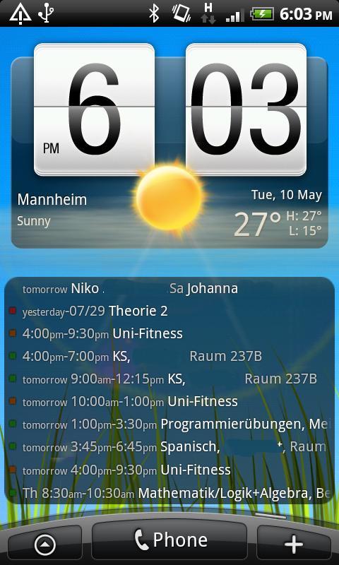 Antons Kalender-Widget – Screenshot