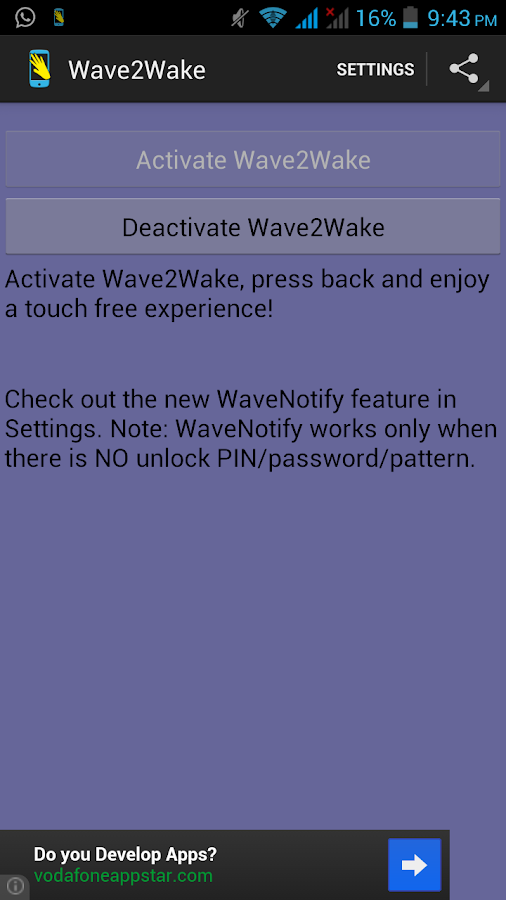 Wave2Wake - With WaveNotify - screenshot