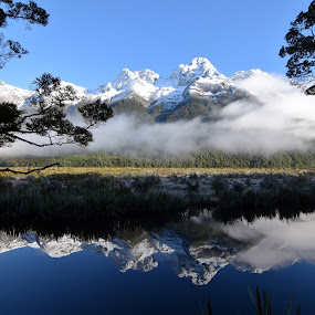 Mirror Lake by Timothy Carney - Landscapes Waterscapes ( mountains, reflection, south island, mirror lake, new zealand )