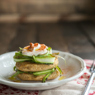 Chickpea Cakes with Shaved Asparagus and Yogurt.