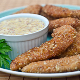 Pecan Crusted Chicken Tenders with Honey Mustard Sauce.