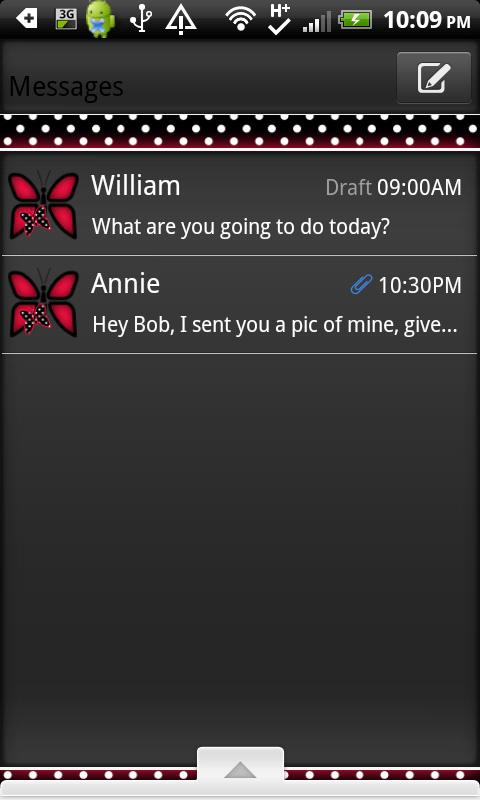 GO SMS THEME/RedPolkaDot - screenshot