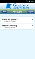 Screenshot of Guardian Credit Union Mobile