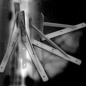 The Brackets by Gerard Toney - Artistic Objects Industrial Objects ( shelf bracket, reflection, industrial, metal, silver, wall bracket, shelf, bracket )