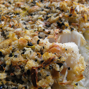 Hake Crumble with Olives and Leek