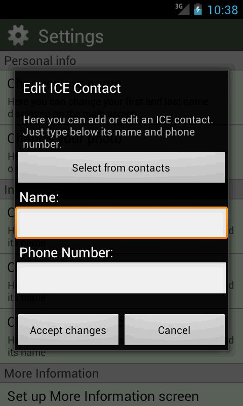 ICE Card- screenshot