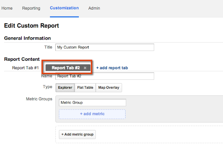 You can customize the report types in each Report Tab.