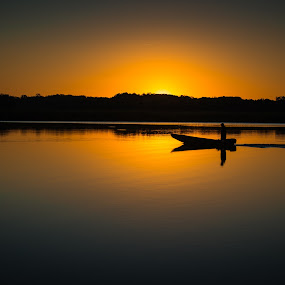 The Solitary Fisherman by Cindy Hartman - Landscapes Sunsets & Sunrises ( magruder's ferry, patuxent, maryland, sunrise, fisherman, patuxent river, river,  )