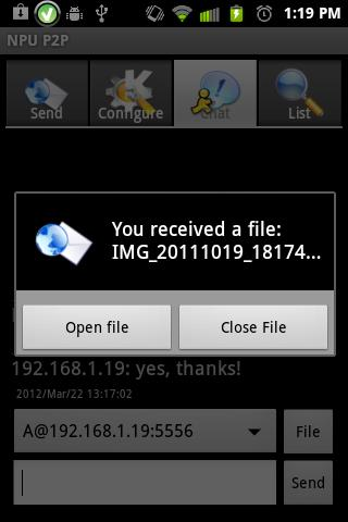 Share file between phones - screenshot