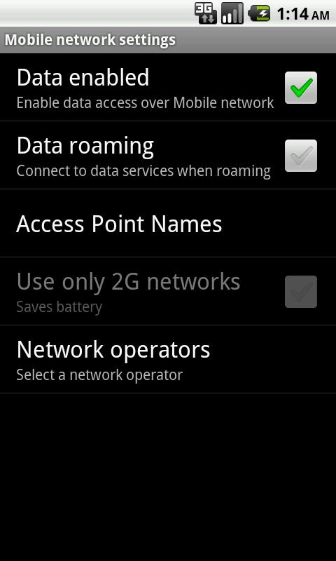 Mobile Network Settings- screenshot