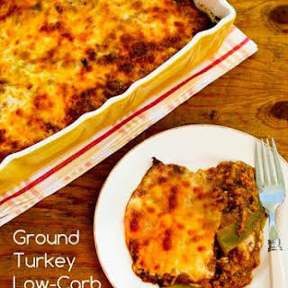 Ground Turkey Low-Carb Enchilada Casserole with Red and Green Chiles (Gluten-Free).