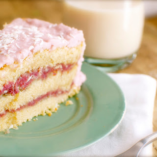 Vegan Raspberry Zinger Coconut Cake.
