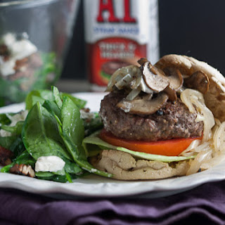 Juicy Bison Burgers with Mushrooms & Onions.
