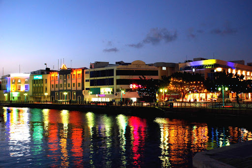 Bridgetown-waterfront-night-Barbados - Bridgetown, Barbados, on a summer night.