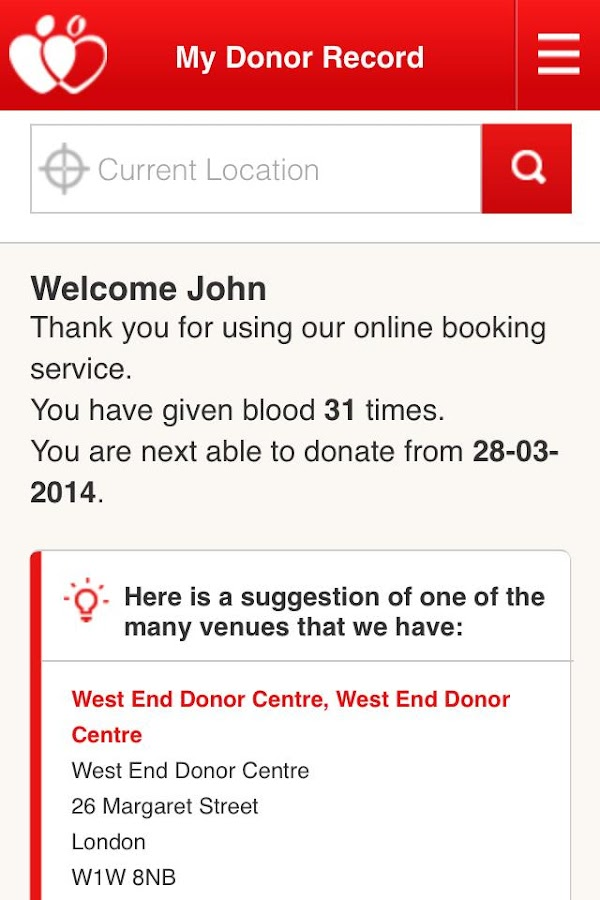 NHSGiveBlood - screenshot