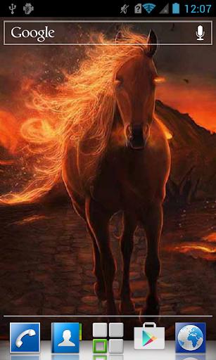 Luxury horse on fire LWP