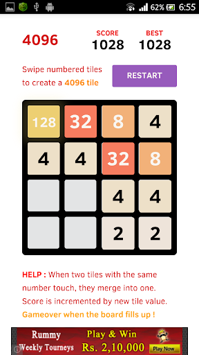 4096 Tile Puzzle Game