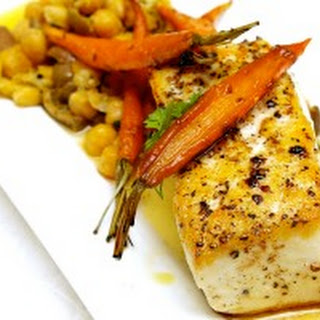 Halibut with Brown Butter, Crushed Chickpeas with Olives and Roasted Cumin Carrots.