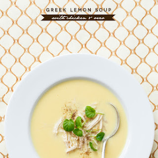 Greek Lemon Soup with Chicken and Orzo.