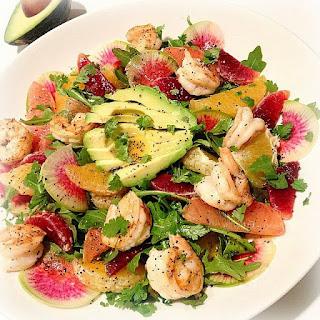 Beautiful Winter Salad w/ Triple Citrus & Grilled Shrimp