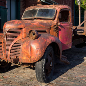 Seen Better Days by Donna Brittain - Transportation Automobiles ( truck, derelict, cityscape, rust, junk,  )