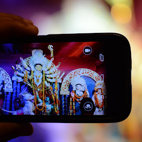 Maa Durga Captured by Pritam Sen - Artistic Objects Technology Objects ( india, festival, lord, goddess, durga puja, sacred, bokeh )