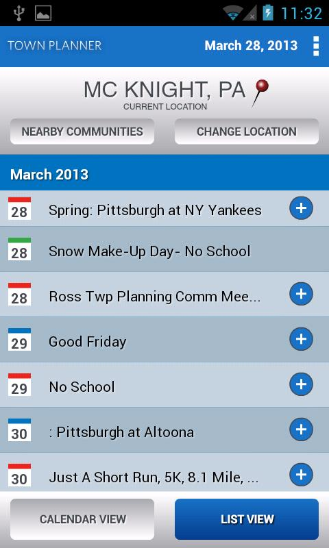 Town Planner Events Calendar- screenshot