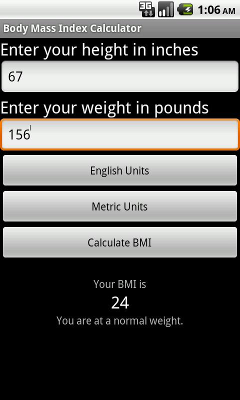 SapphApps BMI Calculator - screenshot