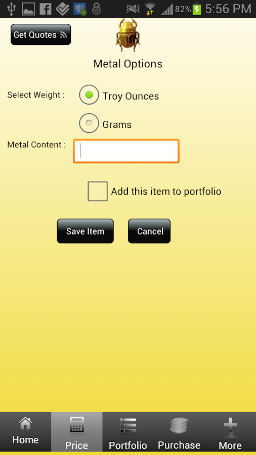 The Precious Metals Calculator - screenshot