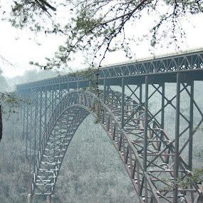 Watch for Ice on Bridge by Melissa Toothman - Travel Locations Landmarks ( wild and wonderful, winter, 2013, cold, new river gorge, west virginia, bridge day, ice, snow, frost, bridge )