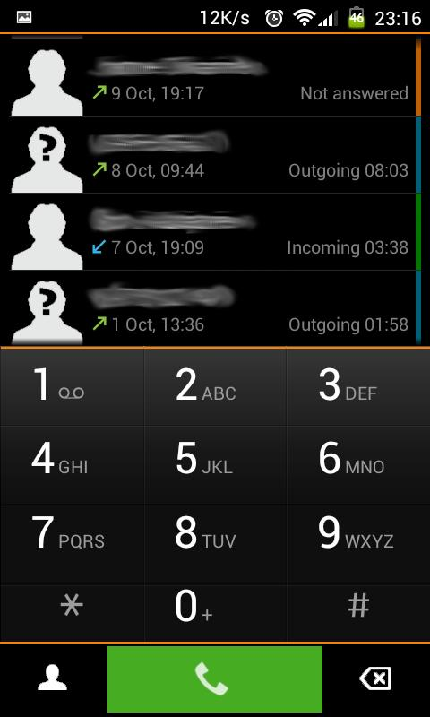 Black exDialer - screenshot