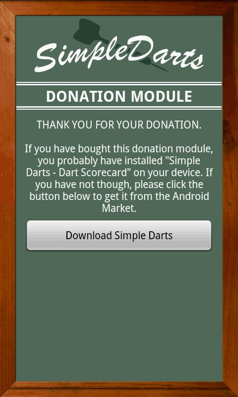 Simple Darts - Donation Module - screenshot