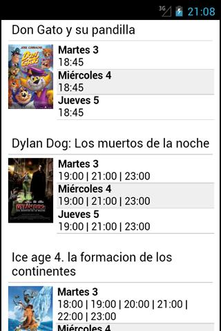 Cine Cartelera - screenshot