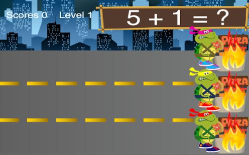 Math Game Ninja Turtles Run