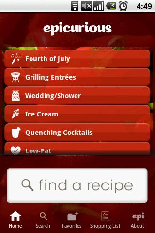 Epicurious Recipe App - screenshot