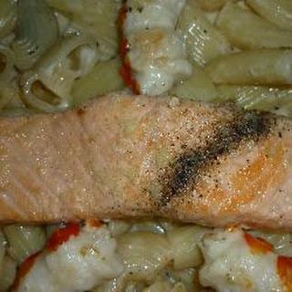 Nicky's Salmon And King Prawn Pasta In Lemon Garlic Sauce.