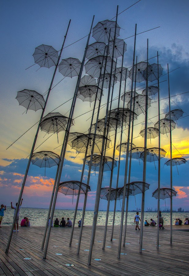 Umbrellas, Port of Thessaloniki, Greece (IΙΙ) by Sergio Georgakopoulos - Artistic Objects Other Objects ( installation, umbrellas, thessaloniki, greece,  )