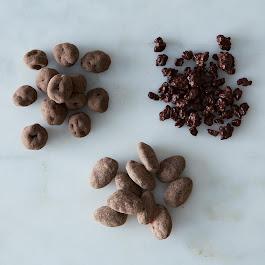 Chocolate Coated Almonds, Cranberries, Cocoa Nibs, 3 Jars