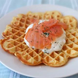 Potato Waffle with Smoked Salmon and a Herb Quark Sauce.
