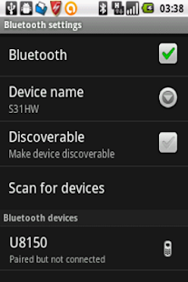 Bluetooth settings shortcut