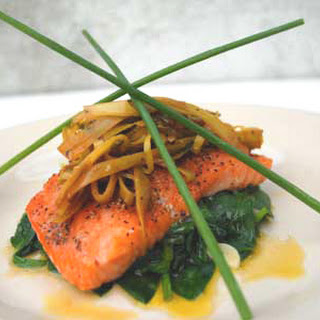 Gluten Free Salmon with Braised Leeks and Spinach.