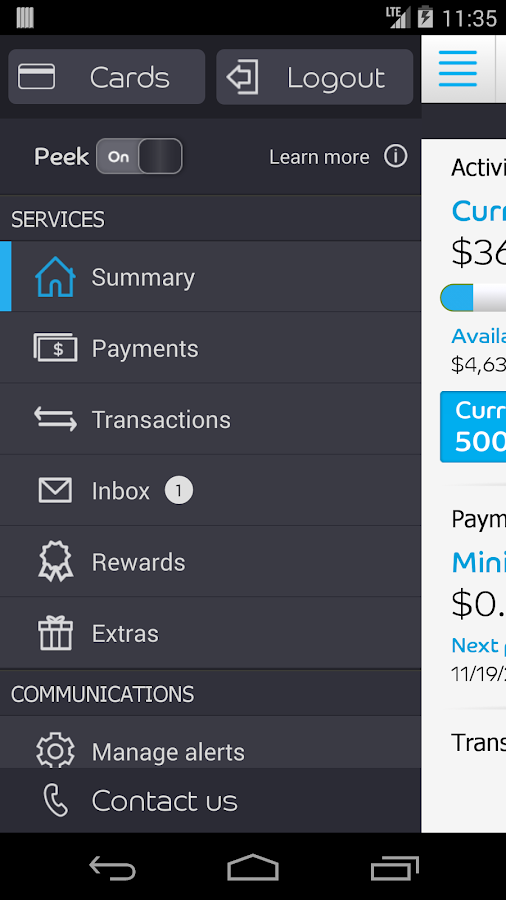 Barclaycard for Android - screenshot