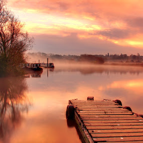 calm at dawn by Tony Walker - Landscapes Waterscapes ( river trent boats dawn lamding stage )
