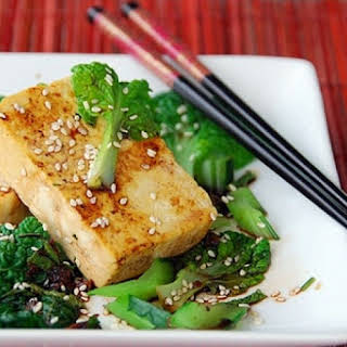 Grilled Tofu and Sauteed Asian Greens.