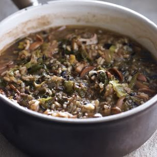Wild Rice Soup with Porcini and Escarole (Zuppa di Riso Selvatico)