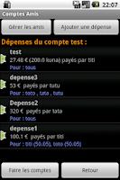 Screenshot of Comptes Amis Cupcake version